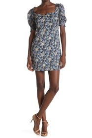 NSR Cami Sweetheart Neck Puff Sleeve Floral Print