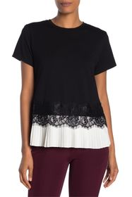 Laundry By Shelli Segal Pleated Lace Trim T-Shirt