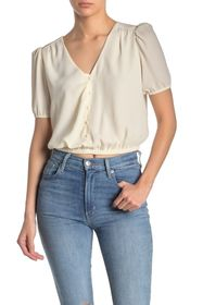 ASTR the Label Puff Sleeve Button Front Blouse