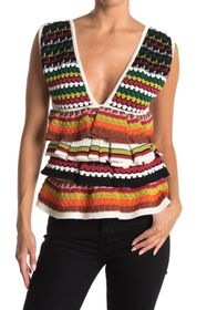 M Missoni Layered Knit Patterned Tank Top