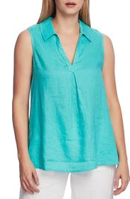 Vince Camuto Sleeveless Split Neck Linen Tunic