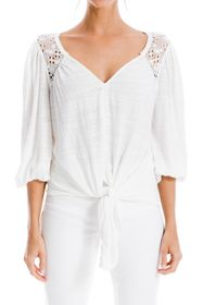 Max Studio Lace Inset 3/4 Sleeve Tie Hem Blouse