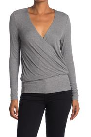 BCBGMAXAZRIA Surplice Neck Long Sleeve Top