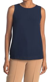 H HALSTON Sleeveless Mix Media Blouse