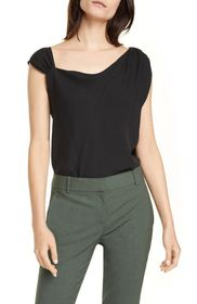 Theory Asymmetrical Neck Silk Georgette Blouse