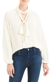Theory Tie Neck Silk Georgette Blouse