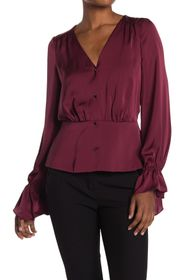 Ramy Brook Karen Ruffle Cuff V-Neck Blouse