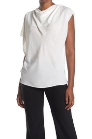 H HALSTON Asymmetric Sleeve Top