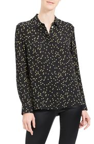Theory Classic Silk Button-Up Top