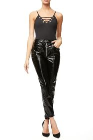 Good American Good Straight Faux Patent Leather Pa