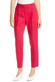 BOSS Harita Pleated Stretch Cotton Ankle Trousers