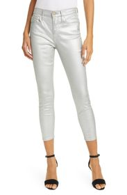 FRAME Ali Metallic High Rise Ankle Crop Skinny Jea