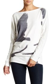 Go Couture Printed Dolman Tunic Sweater