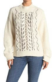 Vince Camuto Chain Trim Cable Stitch Sweater