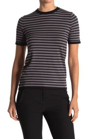 T Tahari Short Sleeve Crew Neck Striped Sweater
