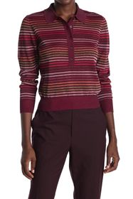 kate spade new york metallic stripe polo sweater