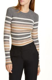 Theory Stripe Ribbed Crewneck Cashmere Sweater