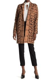 T Tahari Notch Collar Snake Printed Coat