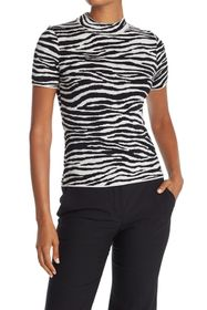 Theory Zebra Mock Neck Top