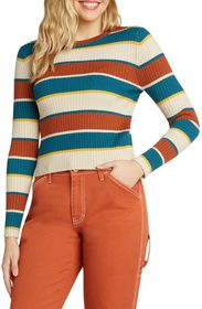 Dickies Long Sleeve Striped Ribbed Crop Sweater