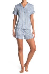 Catherine Malandrino Striped Short & Shirt 2-Piece