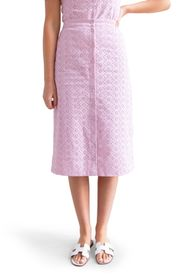 RACHEL PARCELL Front Button Eyelet Skirt