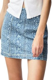 Free People Modern Femme Floral Denim Mini Skirt