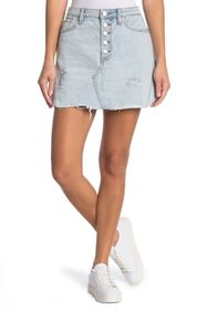 Free People Ripped Denim Mini Skirt