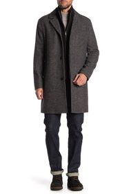 Cole Haan Wool Blend Leather Trim Bib Insert Coat