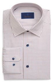 David Donahue Regular Fit Plaid Shirt Dress Shirt