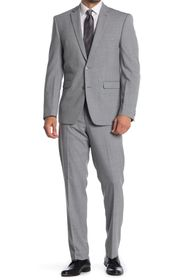 Vince Camuto Grey Solid Two Button Notch Lapel Woo
