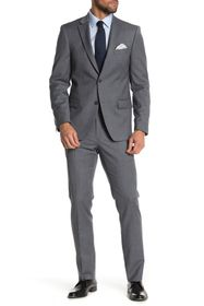 Tommy Hilfiger Grey Plaid Two Button Notch Lapel S
