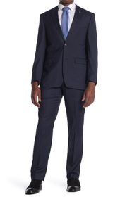 Perry Ellis Navy Check Two Button Notch Lapel Slim