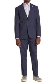 Ben Sherman Navy Plaid Slim Fit 2-Piece Suit