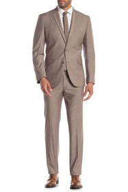 Kenneth Cole Reaction Dark Tan Solid Two Button No