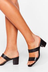 Nasty Gal Black Give It a Faux Leather Strappy Mul