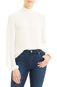Theory Mock Neck Silk Blouse