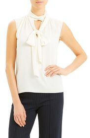 Theory Scarf Tie Sleeveless Silk Blend Blouse