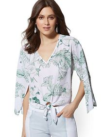Floral V-Neck Tie-Front Blouse - New York & Compan