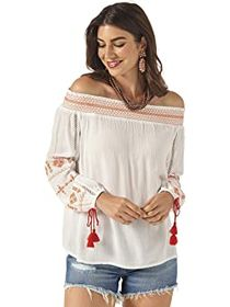 Wrangler Crinkle Woven with Sleeves and Embroidery