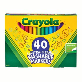 Crayola Ultra-Clean Washable Fine Line Markers, 40