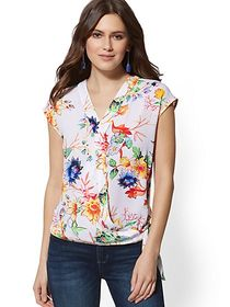 Bird & Floral Tie-Front Wrap Blouse - New York & C