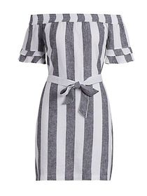 Striped Linen Off-The-Shoulder Dress - New York &