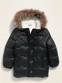 Unisex Faux-Fur-Trim Hooded Frost-Free Puffer Jack
