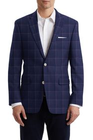 Tommy Hilfiger Navy Red Windowpane Two Button Notc