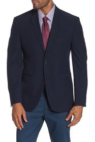 Perry Ellis Navy Solid Two Button Notch Lapel Perf