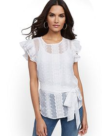 Petite Lace-Trim Ruffle Top - Lily & Cali - New Yo