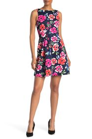 Vince Camuto Floral Sleeveless Scuba Fit & Flare D
