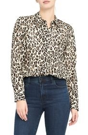 Theory Leopard Print Silk Button-Up Shirt