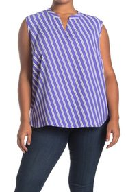 Anne Klein Bias Stripe Sleeveless Blouse